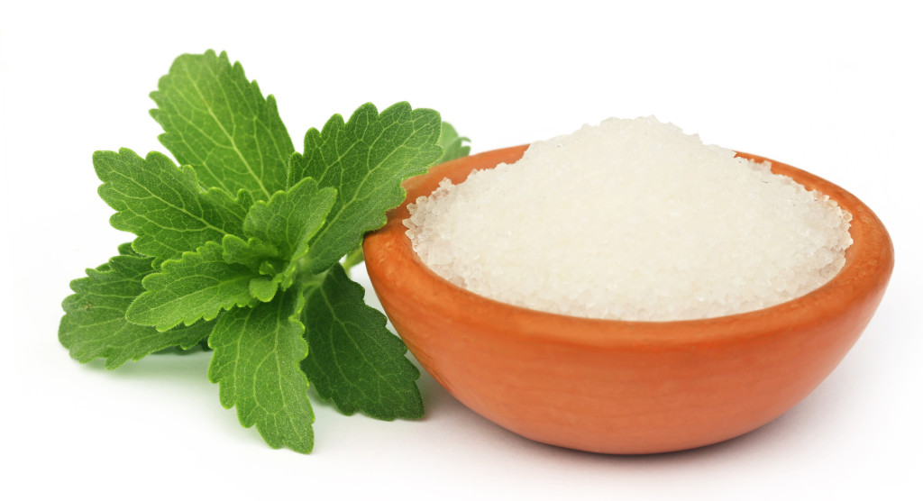 Stevia with sugar on a brown bowl